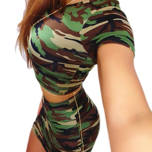 Women Fitted Gothic Steampunk Army Green Pattern Short Sleeve Top Pencil Skirt