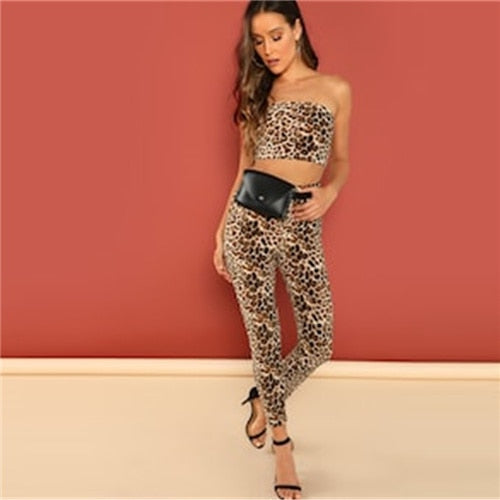 SHEIN Weekend CasualMulticolor Off the Shoulder Sleeveless Leopard Print Tube Top & Pants Co-Ord Set Skinny 2018 Spring Twopiece