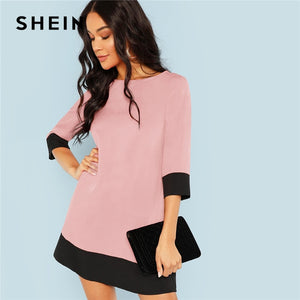 3f9f71a62d SHEIN Pink Office Lady Colorblock Contrast Trim Tunic O-Neck 3/4 Sleeve  Straight Dress Autumn Workwear Elegant Women Dresses