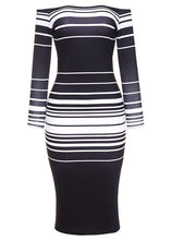 Load image into Gallery viewer, Sexy Women Striped Bodycon Dress Off The Shoulder Long Sleeve Party Club Tube Midi Dress Black