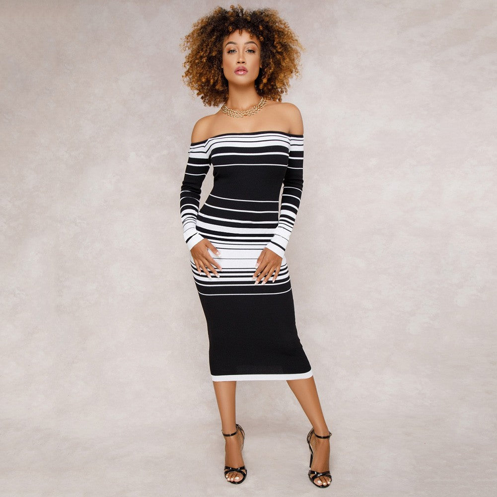 Sexy Women Striped Bodycon Dress Off The Shoulder Long Sleeve Party Club Tube Midi Dress Black