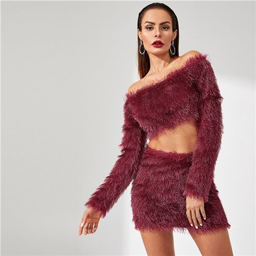SHEIN Going Out Party Burgundy  Off the Shoulder Crop Fluffy Top and Skirt Plain Long Sleeve Set Women Autumn Elegant Twopiece