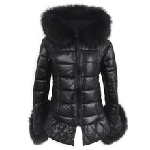 Load image into Gallery viewer, 2018 New High Quality High Imitation Silver Fox Fur Hooded Coat Sleeves Warm Winter Coat Fox Coat Big Yards Overcoat
