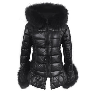 2018 New High Quality High Imitation Silver Fox Fur Hooded Coat Sleeves Warm Winter Coat Fox Coat Big Yards Overcoat