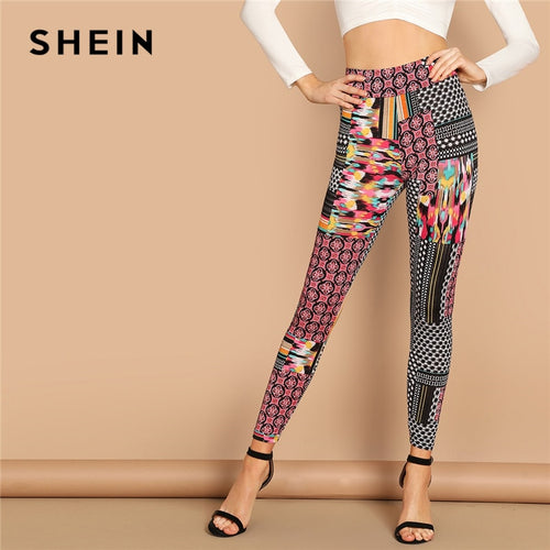 SHEIN Multicolor Casual Solid Geometric High Waist Patchwork Print Long Leggings Autumn Leisure Modern Lady Women Leggings