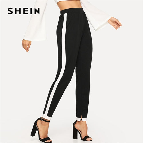 SHEIN Black Morden Lady Contrast Trim Split Hem Elastic Waist Mid Waist Carrot Pants 2018 Autumn Casual Workwear Trousers