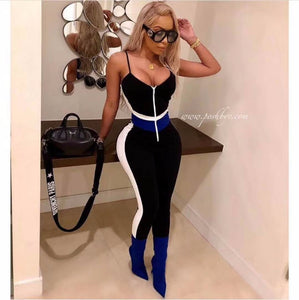 DEIVE TEGER  Summer Women Evening Party None Decoration Solid Sexy Night Full Length Jumpsuits Club Bodycon Bandage HL3417