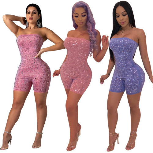 Women's Sparkle Glam Sleeveless Rhinestone Bodycon Jumpsuit for Party