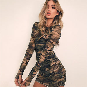 Women Camouflage Mesh See-through Long Sleeve Party Mini Dresses