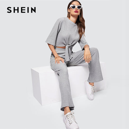 SHEIN Grey Knot Dip Hem Marled Knit Top And Pants Set Round Neck Long Sleeve Co-Ord Women Spring Elegant Workwear Twopiece