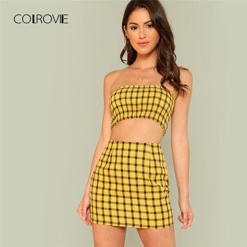 COLROVIE Plaid Print Shirred Strapless Crop Top And Skirt Set Summer Yellow Zipper Beach Two Piece Set Vacation Women Sets