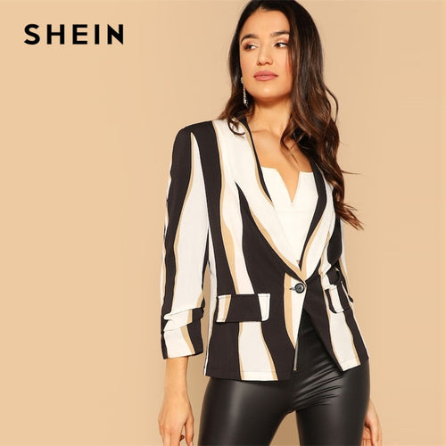 SHEIN Multicolor Single Button Color-block Slim Fit Blazer Women Spring Office Lady Long Sleeve  Shawl Collar Casual Outer