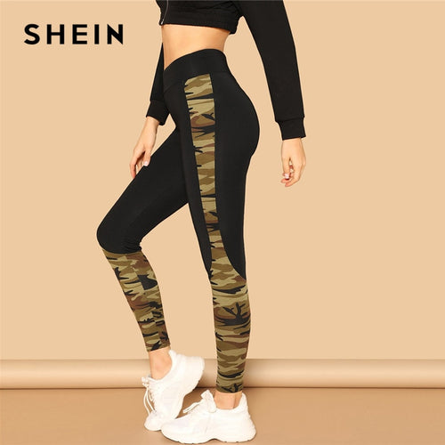 SHEIN Multicolor Wide Waist Camouflage Print Skinny Sporting Leggings Women Mid Waist Spring Leisure Casual Workout Leggings