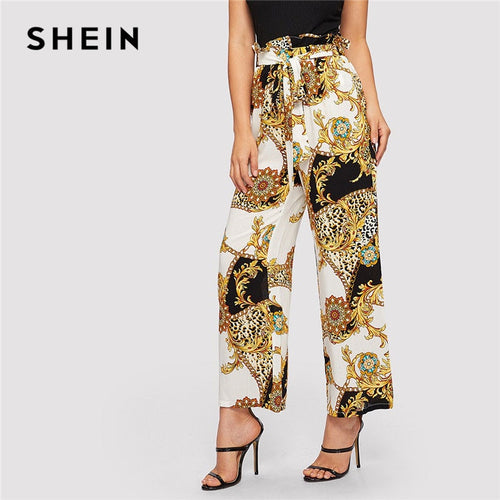 SHEIN Paperbag High Waist Belted Scarf And Leopard Print Elegant Pants Women Spring Elastic Waist Casual Wide Leg Pants