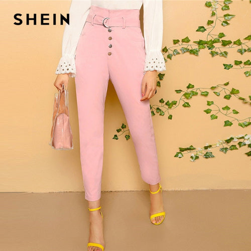 SHEIN Pink Elegant Office Lady Paperbag Waist D-Ring Belted Tapered Solid Pants Women Spring Casual Workwear Crop Trousers