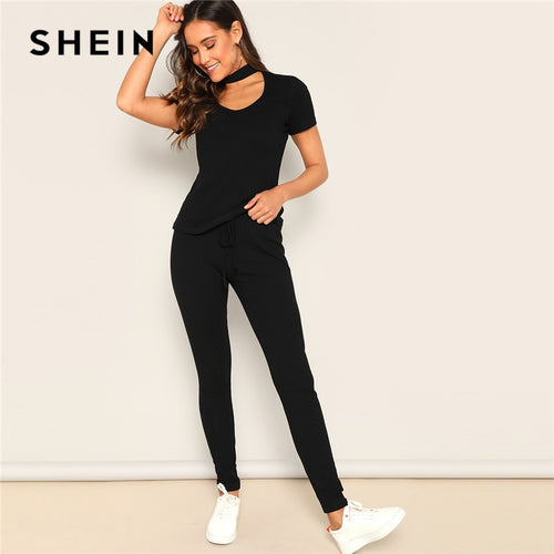 SHEIN Black Choker V-neck Ribbed Knit Tee and Pants 2 Piece Set Women Spring Solid Skinny Streetwear Active Wear Two Piece Set