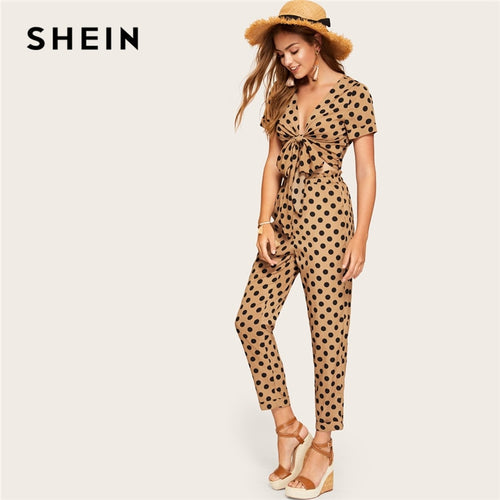 SHEIN Brown Knot Front Polka Dot Crop Sexy Top and Ruffle Waist Carrot Pants Set Women Spring Summer Boho Elegant Two Piece Set