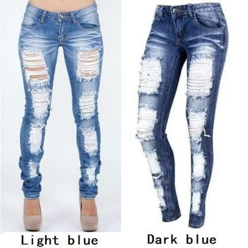 Distressed Jeans Ladies Cotton Denim Pants Stretch Womens Ripped Skinny Denim Jeans For Female