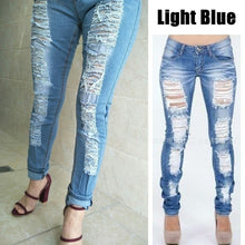 Load image into Gallery viewer, Distressed Jeans Ladies Cotton Denim Pants Stretch Womens Ripped Skinny Denim Jeans For Female