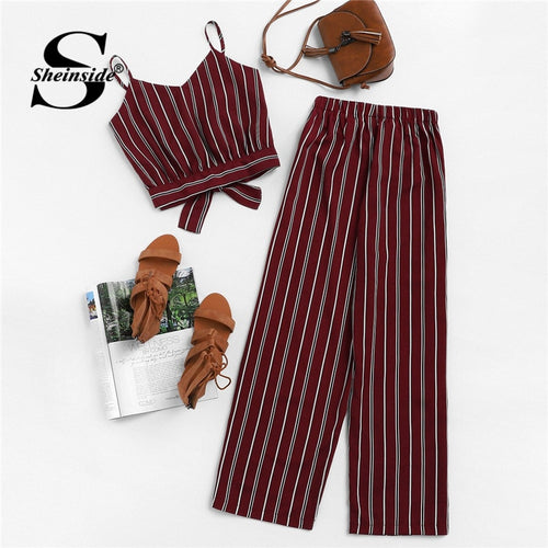 Sheinside Knot Back Striped Cami Top With Pants Sleeveless Crop Top Burgundy Pants Set 2019 Summer Casual Women Two Piece Sets