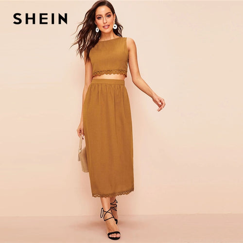 SHEIN Elegant Brown Buttoned Back Lace Trim Crop Top and Long Skirt Set Women Spring Summer 2019 Sleeveless Fitted Two Piece Set