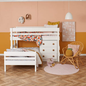 White Low height L shaped bunk bed with storage drawers chest