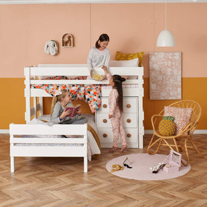 Low height L shaped bunk bed with storage drawers chest