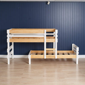 Low height longwall bunk bed only - top bed assembled to the left.