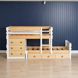 Low height bunk bed, plus under bed storage drawers & deep drawer chest