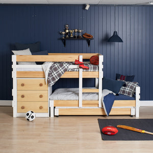 Low height bunk bed with 3 beds, plus best under bed storage