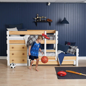 Low height bunk bed with 3 beds, plus best under bed storage and bonus kid...