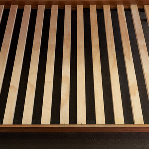 Solid timber double bunk bed slat base view from above