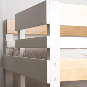 Bunk bed end frame with ladder shown in nordic finish white with clear pine