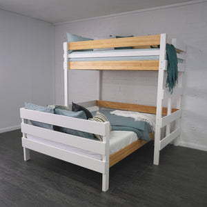 king single loft bed above independent queen bed
