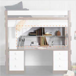 Large bookcase highlighted below single or king single loft bed on Super Desktop.