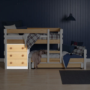Deep drawer chest pictured under Low height longwall bunk bed