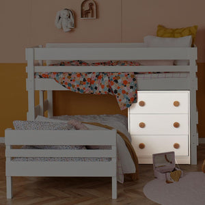 Deep drawer chest pictured under Low height bunk bed