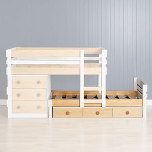 single bed with under bed storage drawers shown under bunk bed add on