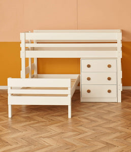 Naked... Low height L shaped bunk bed with storage drawers chest