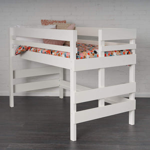 Low height elevated bed. Foot ladder end in white finish