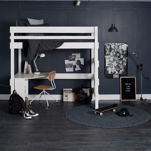 white Loft bed with study desk, under desk shelf