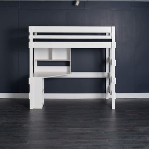 white Loft bed with study desk, under desk shelf and bookcase