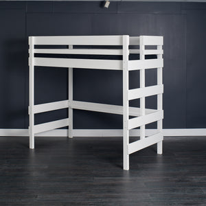 Single or king single white loft bed. Foot frame ladder access.
