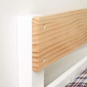 Timber safety rail on white bunk bed end frame