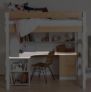 L shaped desk highlighted under double loft bed