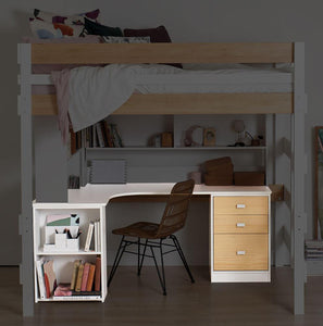 L shaped desktop with under desk shelf and file storage drawers. Pictured under loft bed