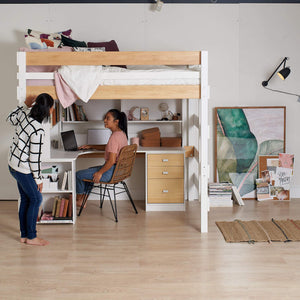 teen girls at large corner desk study under double loft bed