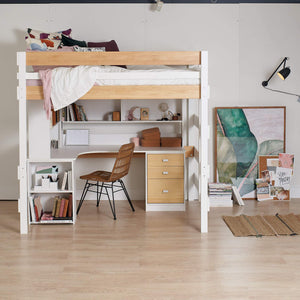 double loft above large corner study desk