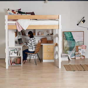 studying on large corner desk underneath loft bed, double size