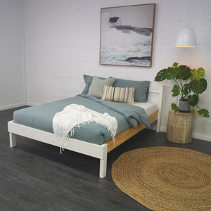 Double bed in Nordic Finish. Foot angle view